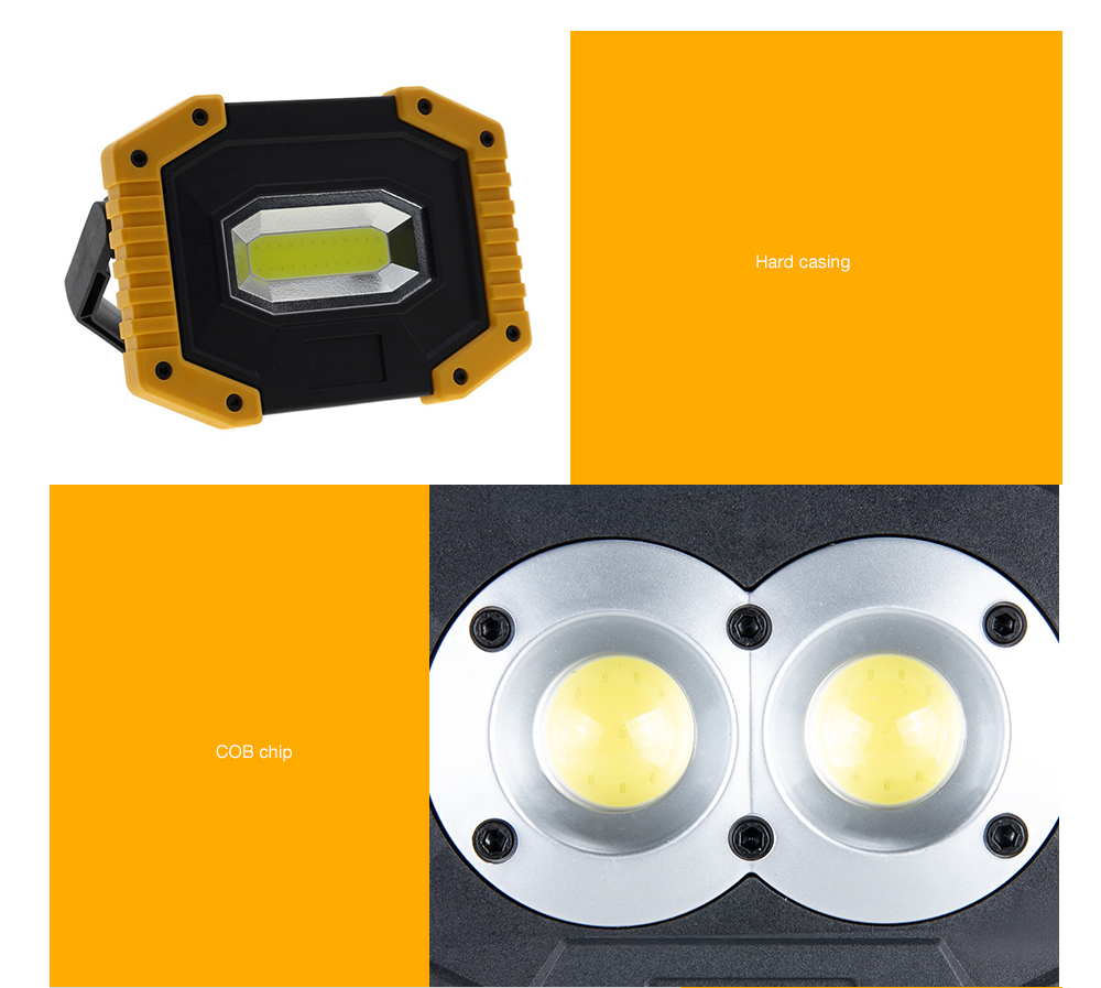 USB Rechargeable Mini LED Floodlight- Yellow Double circular lamp