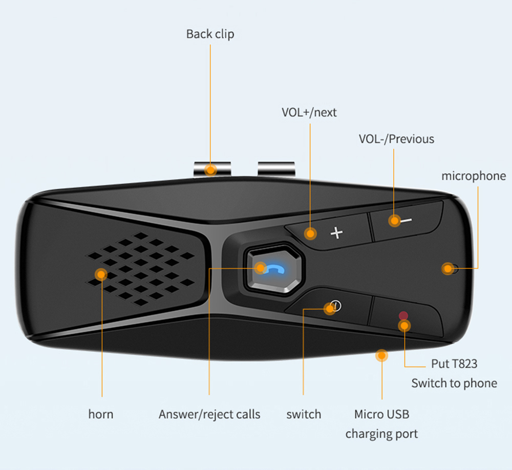 T823 Bluetooth 5.0 Car Speakerphone Visiera Lettore di Navigazione a Mani Libere Broadcast- Nero