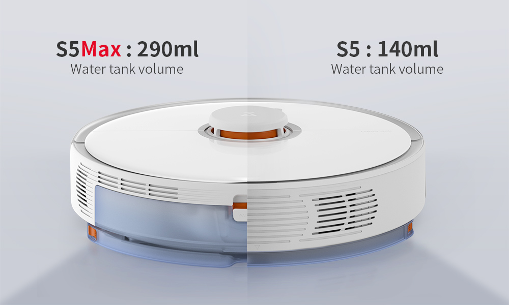 Roborock S5 Max Laser Navigation Robot Vacuum Cleaner with Large Capacity Water Tank Off-limit Area Setting AI Recharge - White EU Plug
