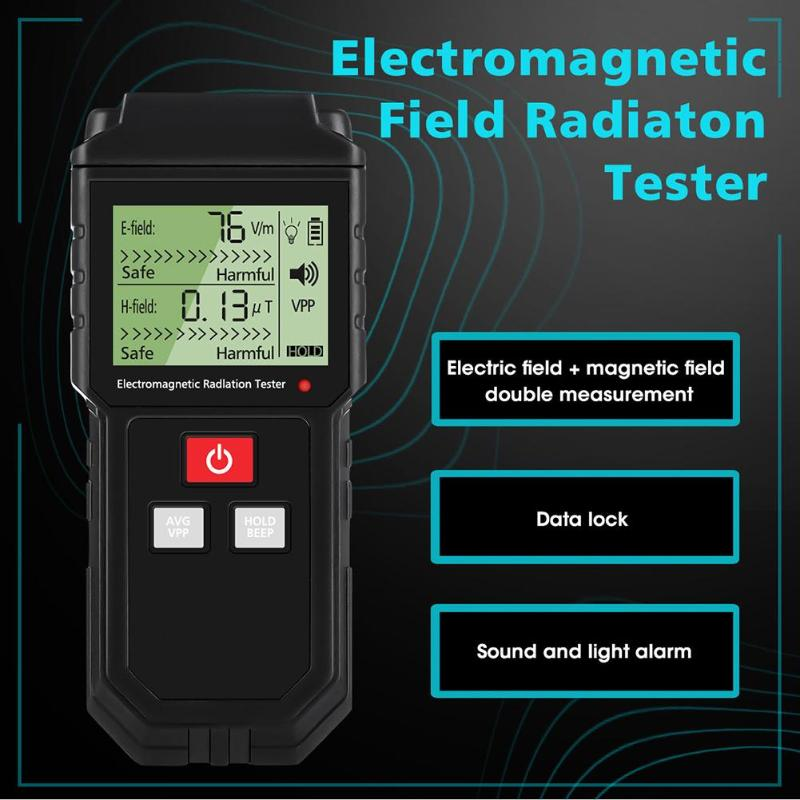 Electromagnetic Radiation Tester Electric and Magnetic Field Dosimeter Sound Light Alarm- Black