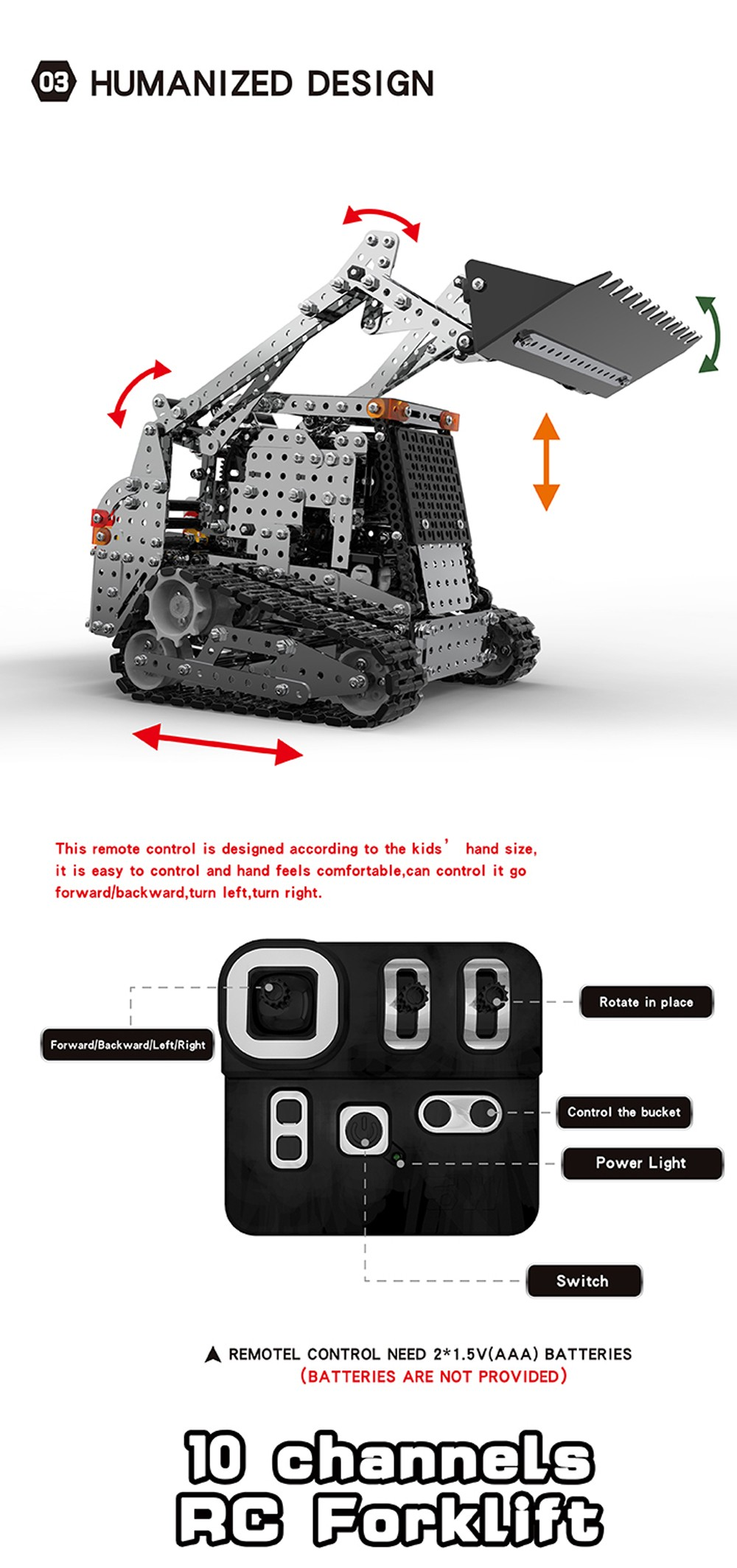 SW(RC)-008 DIY Stainless Steel Assembled 2.4G Remote Control 10-channel Caterpillar Forklift- Platinum