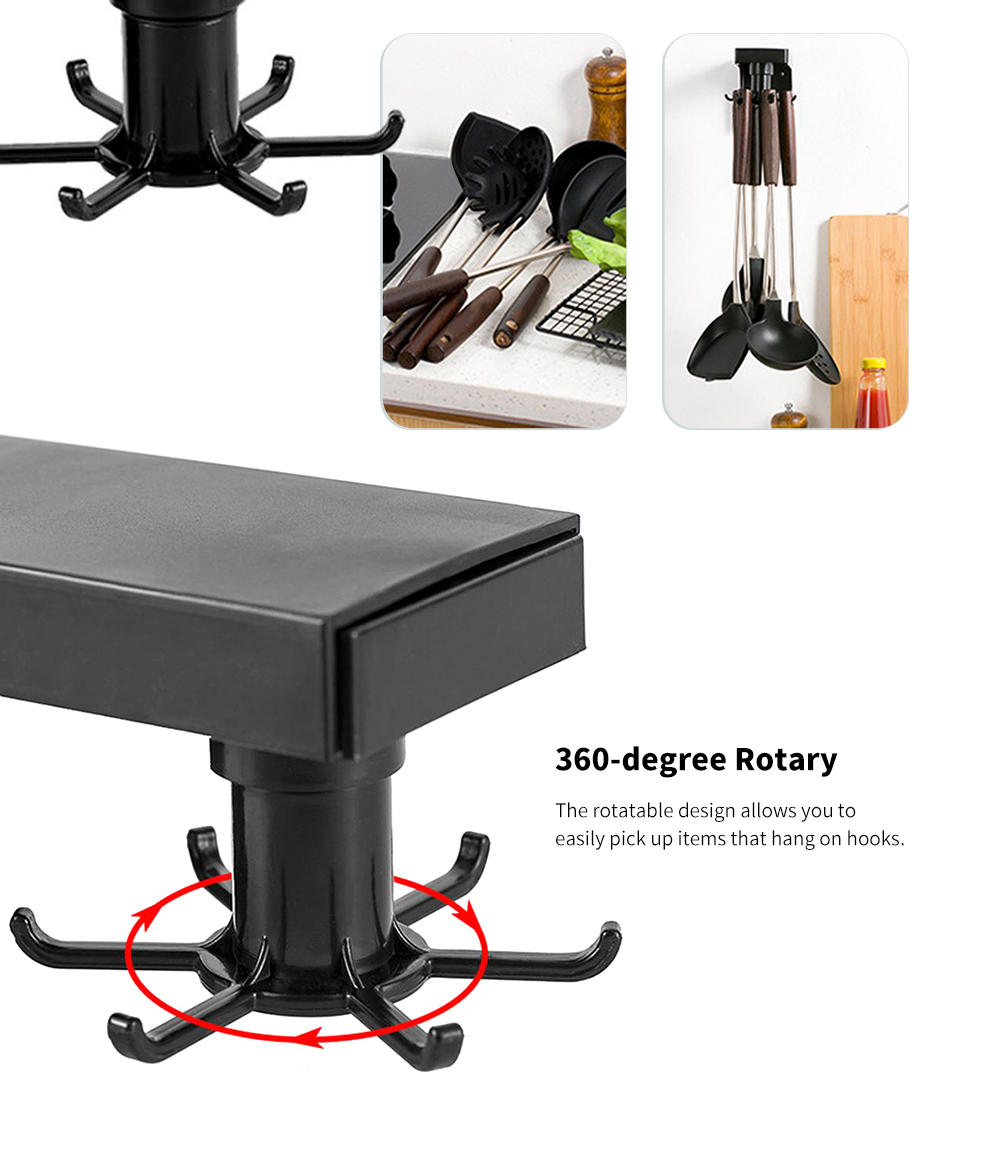 Simple Punch-free ABS Kitchen Storage Hanger Multifunction Rotary Retractable Wall Rack- Black 6 Hooks