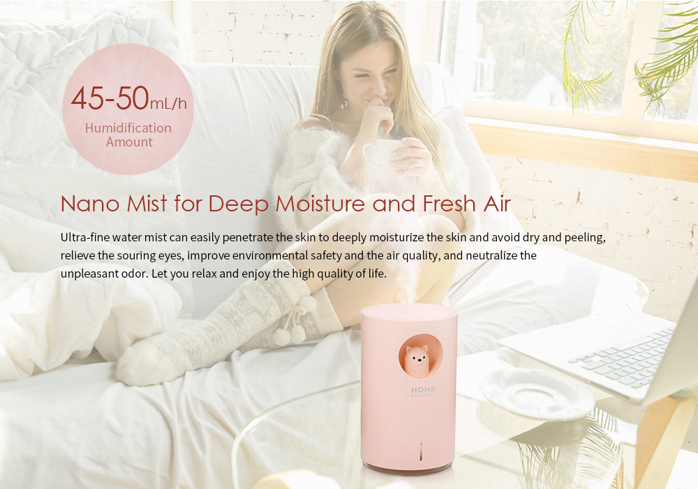 Bilikay M107 Durable Ultrasonic Electric USB Bear Air Humidifier 700ml Atomizer with Light- Milk White