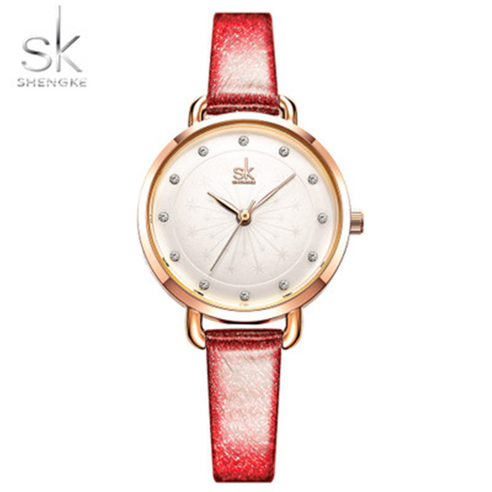Shengke K8031 Women'S Rose Gold Watch with Fashion Diamond Strap - Red