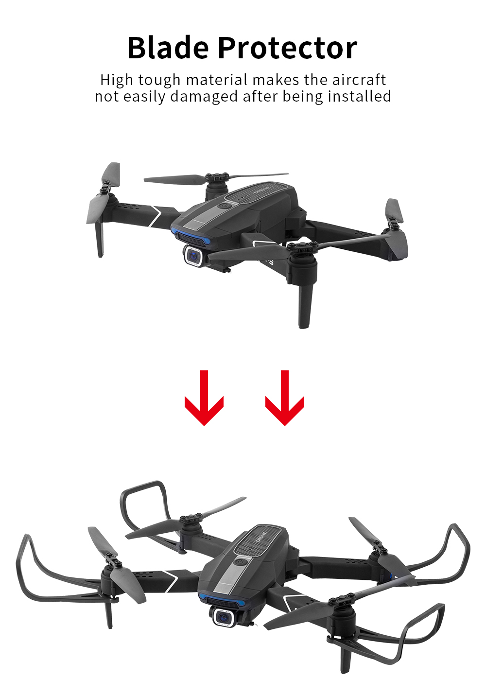 JDRC JD-22S 5G WiFi Foldable GPS Quadcopter RC Camera Drone Quadcopter- Black One Battery