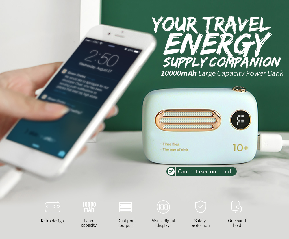 Retro Design Bank.Retro Style Portable Power Bank 10000mah 2 1a 2 Port Usb Battery
