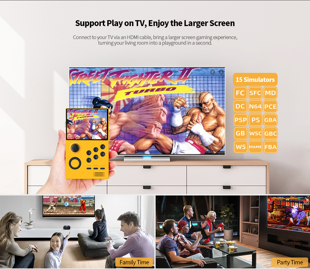 Supretro 3.5 inch IPS Screen Android Gaming Handheld Mini WiFi Download Games Online Support PS / FBA / MAME / DC / N64 / MD / FC / GBA / GBC / PCE / SFC - Silk White