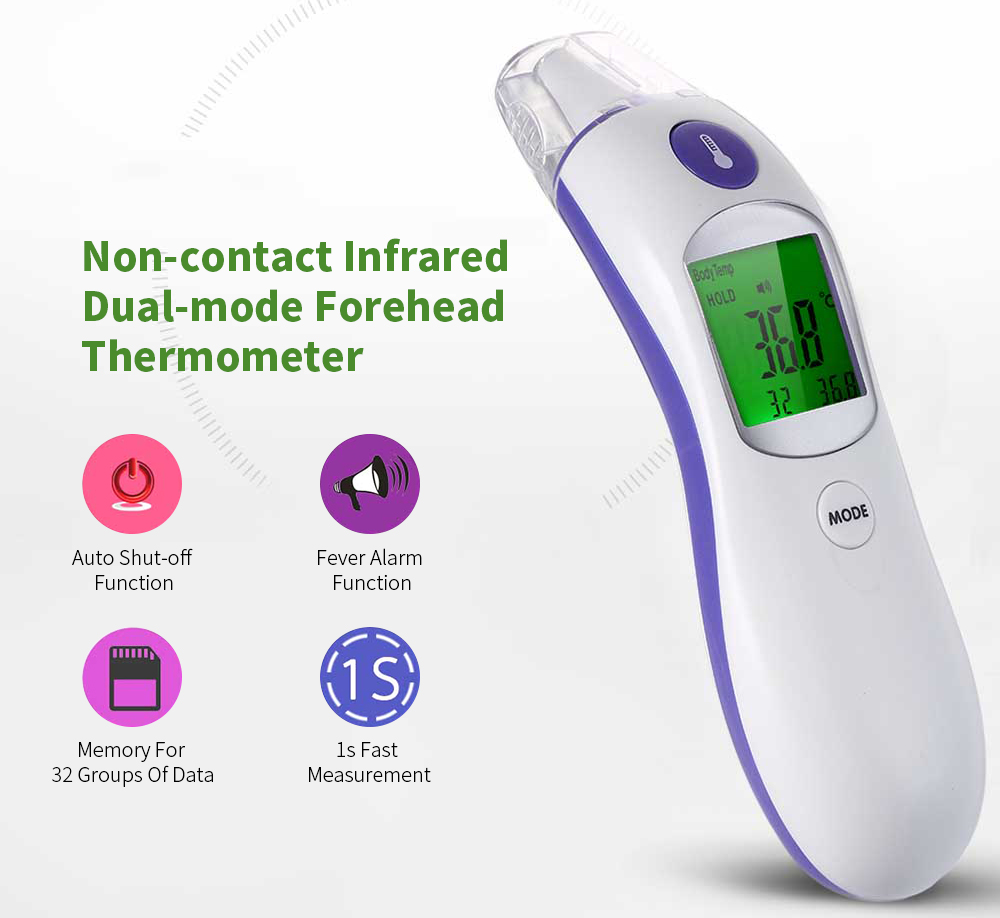 Hand-held Non-contact Infrared Dual-mode Forehead Thermometer- Dark Violet
