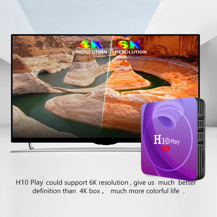 H10 Play Android 9.0 Smart TV Box with Allwinner H6 2.4GHz WiFi 100Mbps USB3.0 VP9 - 10 3D H.264 H.265 Netflix Youtube Support 6K 30fps- Purple 2GB RAM+16GB ROM UK plug