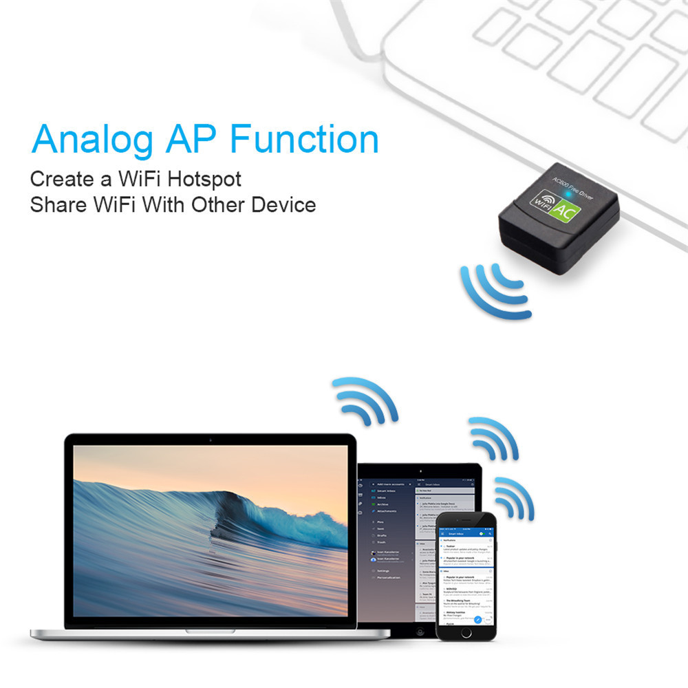 USB Wifi Adapter 600MBPS WiFi 5G Adapte Antenna Dongle AC Wifi Receiver- Black