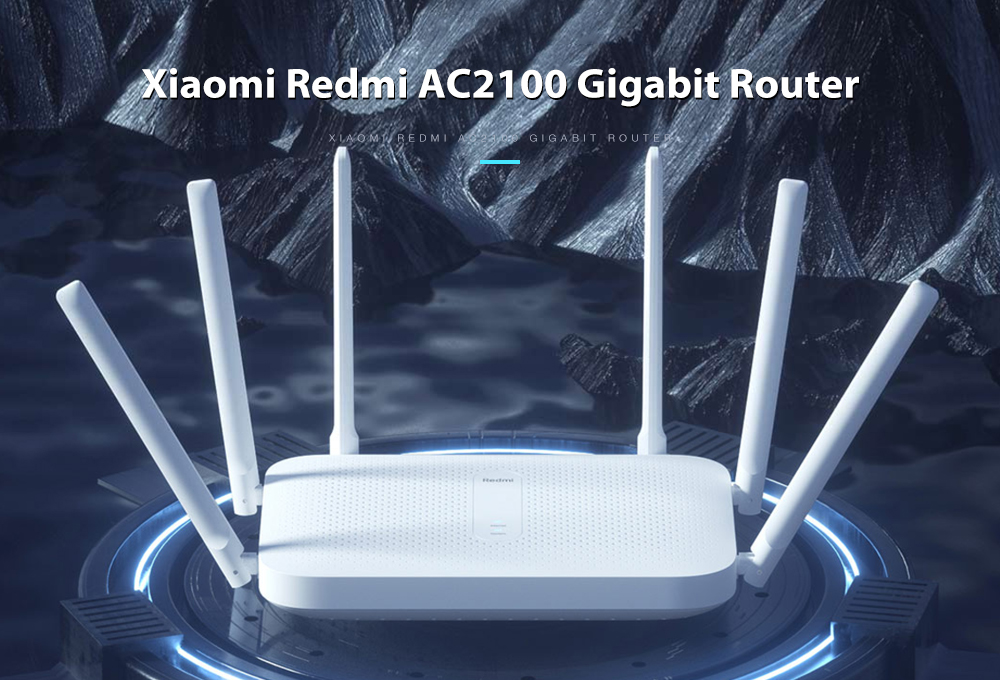 Xiaomi Redmi AC2100 Gigabit Router 2033Mbps Wireless Rate 2.4G + 5G Dual-band Concurrent Dual-core Four-threaded CPU 128M Large Memory- White
