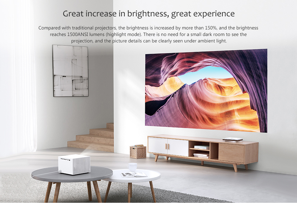 Fengmi Vogue M135FCN Intelligent DLP Projector 1920 x 1080P Support 8K Decoding 1500ANSI Lumens Support Side Projection Autofocus Android 2 + 32GB - White