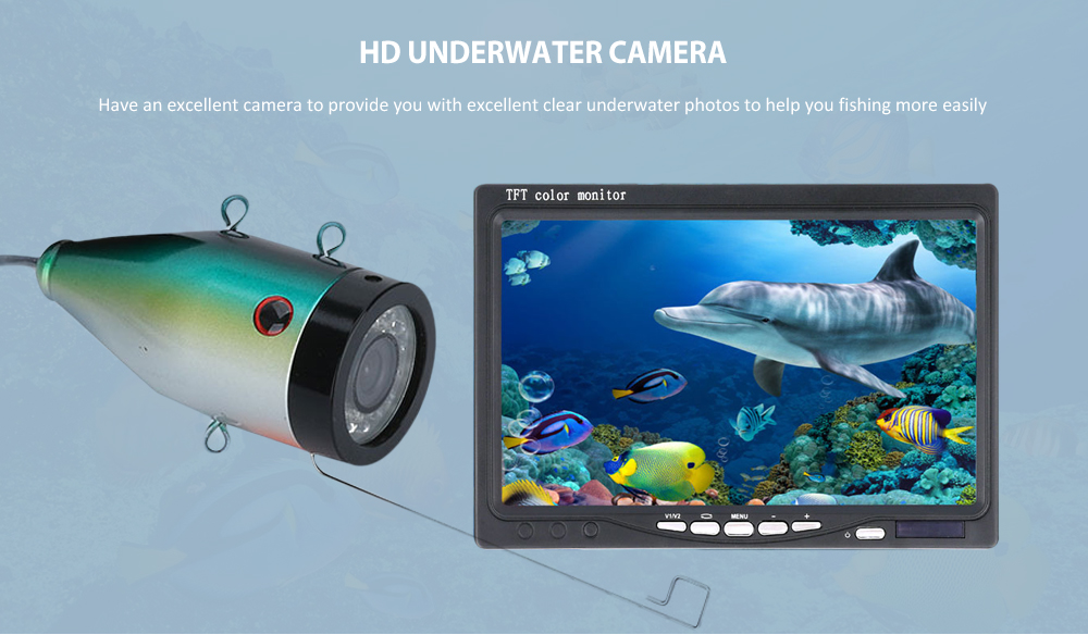 7 inch IPS Display Underwater Intelligent LED Light Visual Fishing Device- Gray 15M