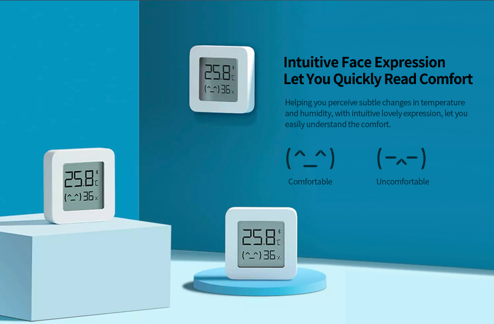Xiaomi Mijia LYWSD03MMC Bluetooth 4.2 Thermometer Second Generation Wireless Smart Electric Digital Hygrometer Work with Mijia APP- White 1pc