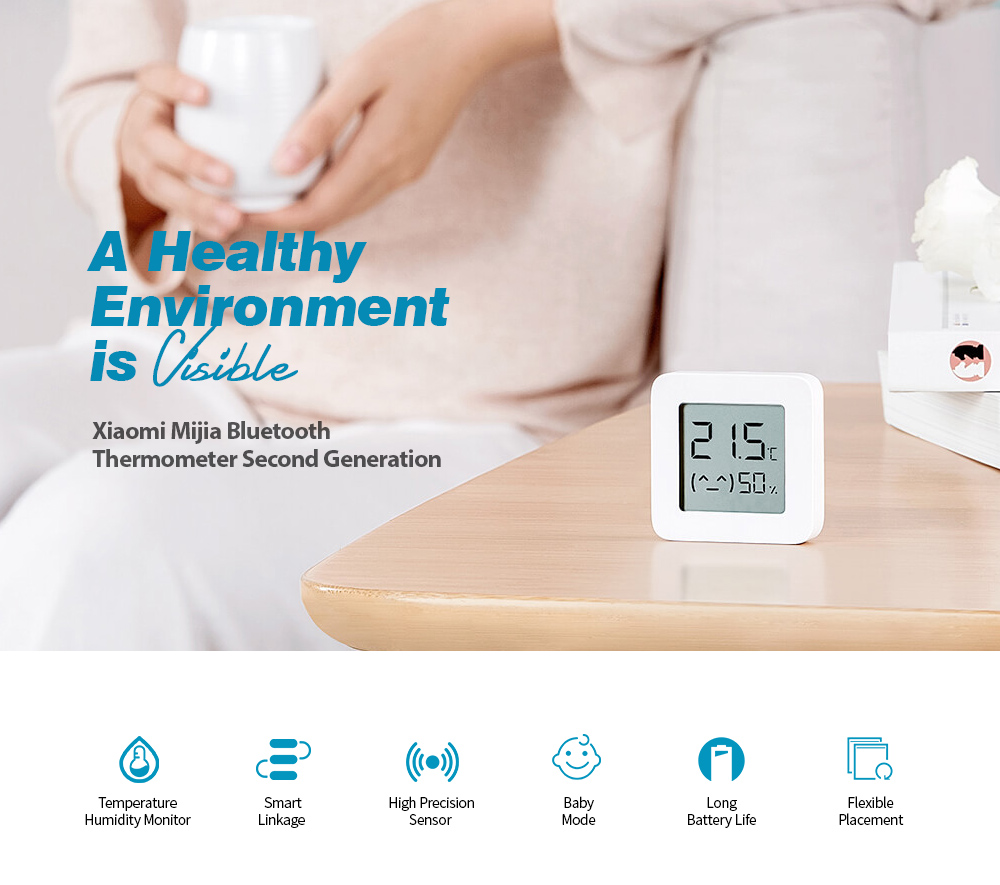 Xiaomi Mijia LYWSD03MMC Bluetooth 4.2 Thermometer Second Generation Wireless Smart Electric Digital Hygrometer Work with Mijia APP- White 4pcs