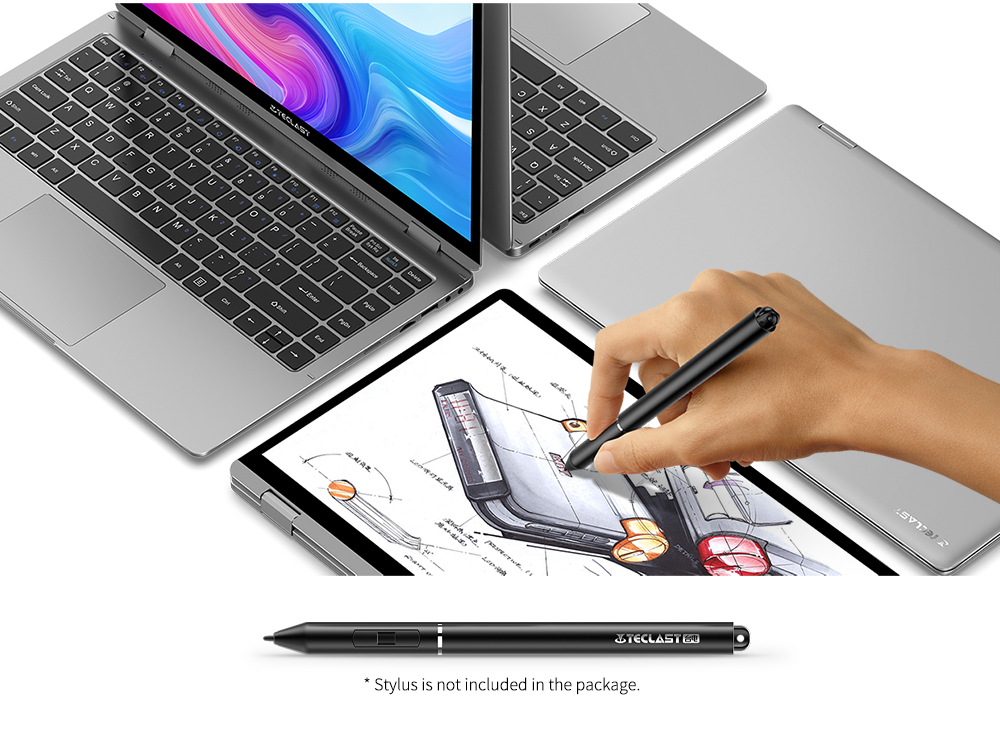 Teclast F6 Plus 13.3 inch Laptop 360° Rotating Touch Screen Intel N4100 8GB / 256GB- Cloudy Gray