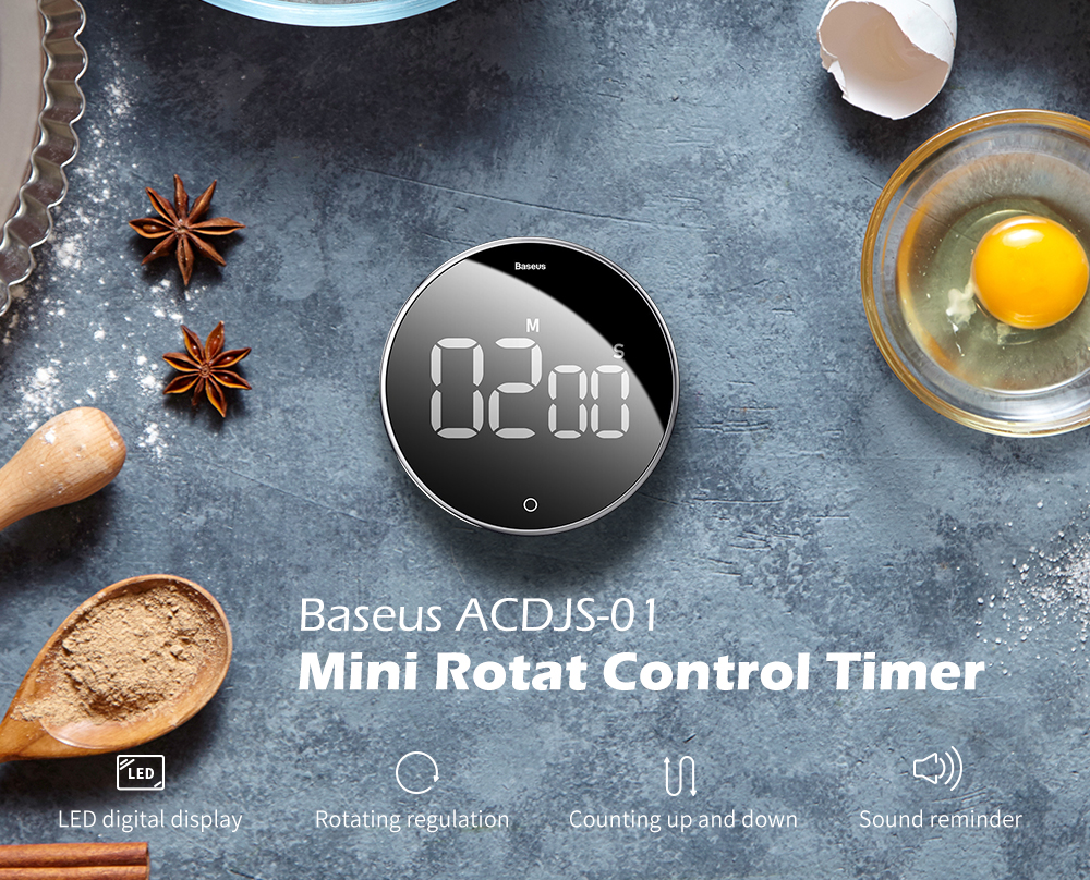 Baseus ACDJS-01 Mute Magnetic Catche Timer ( Xiaomi Ecosystem Product ) - Black