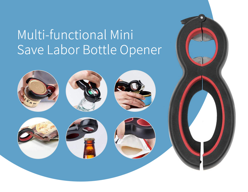 Multi-functional PP + Stainless Steel Bottle Opener- Jet Black