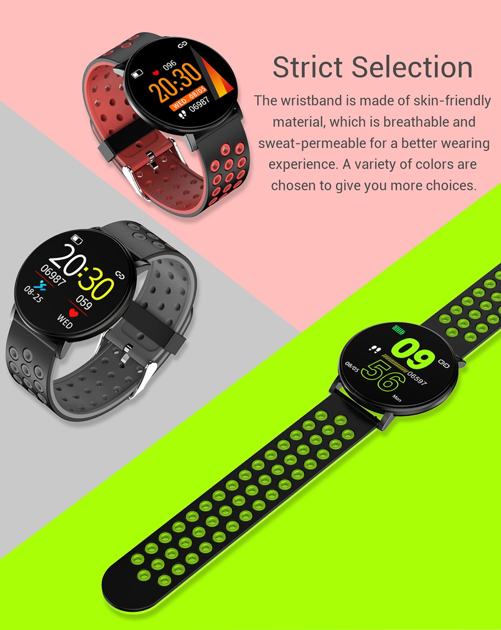 W8 Bluetooth Smart Sports Watch Health Data Monitor Activity Tracker Smartwatch - Lava Red