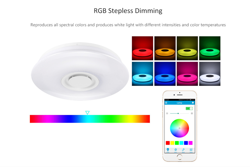 60W Remote Control Bluetooth Music APP Colorful LED Ceiling Light- White