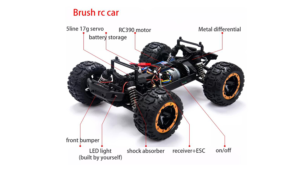 SG1602 1/16 2.4G Brushed RC Car Big Foot High Speed ​​Vehicle Models- Green