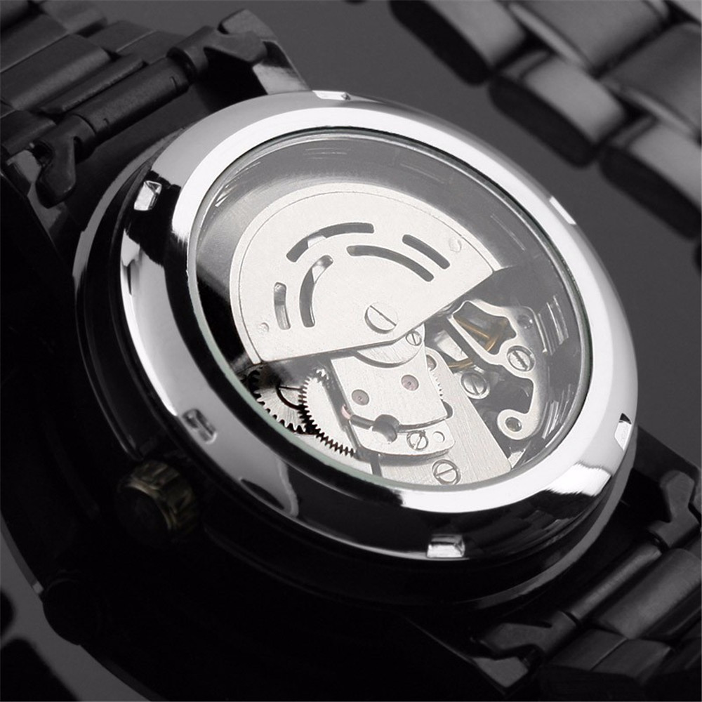 Winner PMW269 Retro Style Men'S Steel Strap Automatic Mechanical Watch - Black