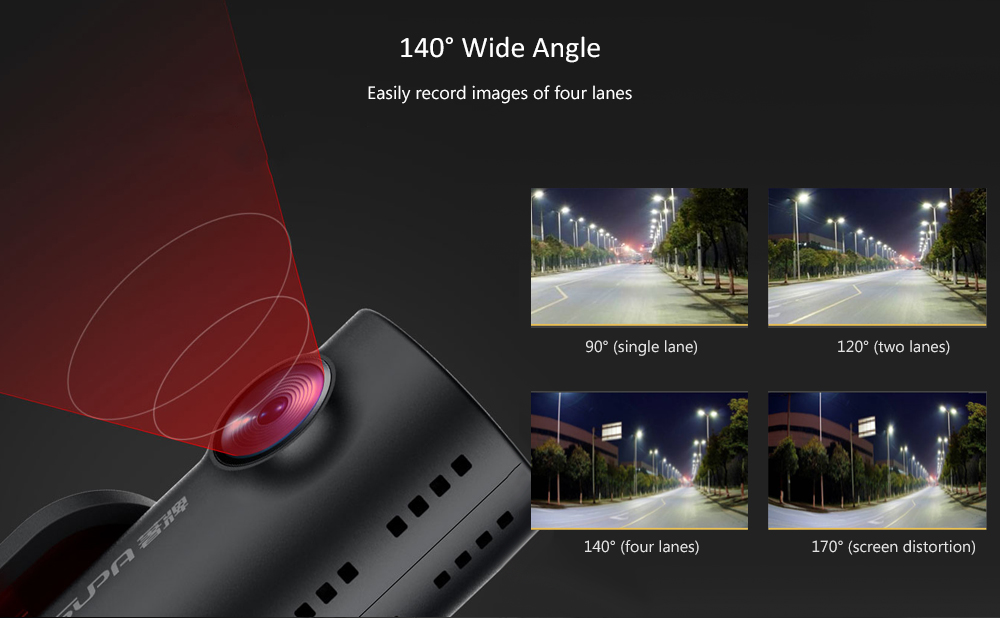 supa SP-215 Car DVR 1080P Full HD Recording 24H Parking Monitor Camera Lens- Red