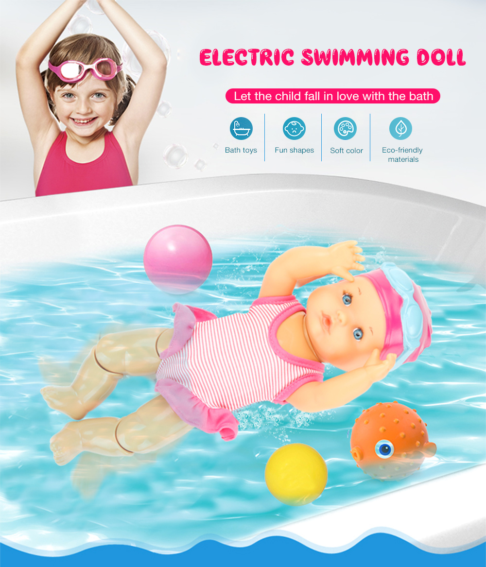Electric Swimming Doll Waterproof Children Toy Birthday Gift Home Bath Toys UK