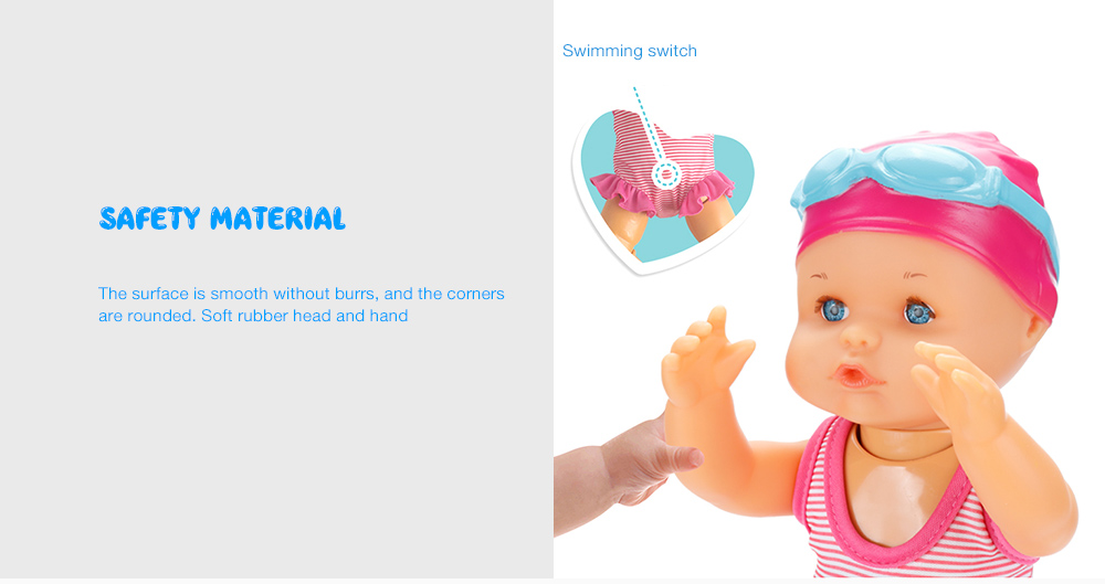 Safe and Reliable Non-Toxic Art Cute Dolls Non-Silicone Electric Doll Swimming Doll Cute Electric Swimming Toy Waterproof Bathtub Toy for Kids Baby