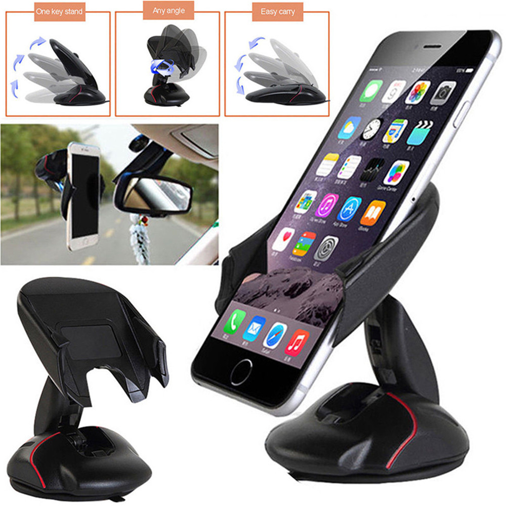 Creative Car Suction Cup Mouse Mobile Phone Bracket - Black