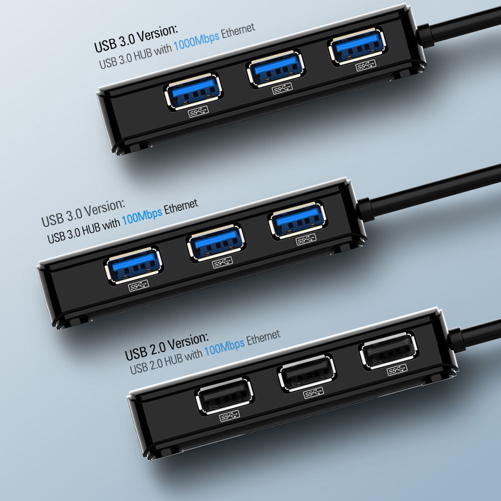 USB To Network Cable Interface USB 3.0HUB Network Adapter Network Card USB- Jet Black