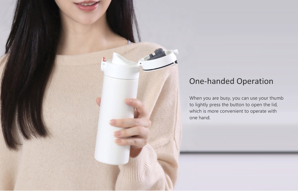 LED Intelligent Digital Display Vacuum Cup 380ml Capacity from Xiaomi youpin- White