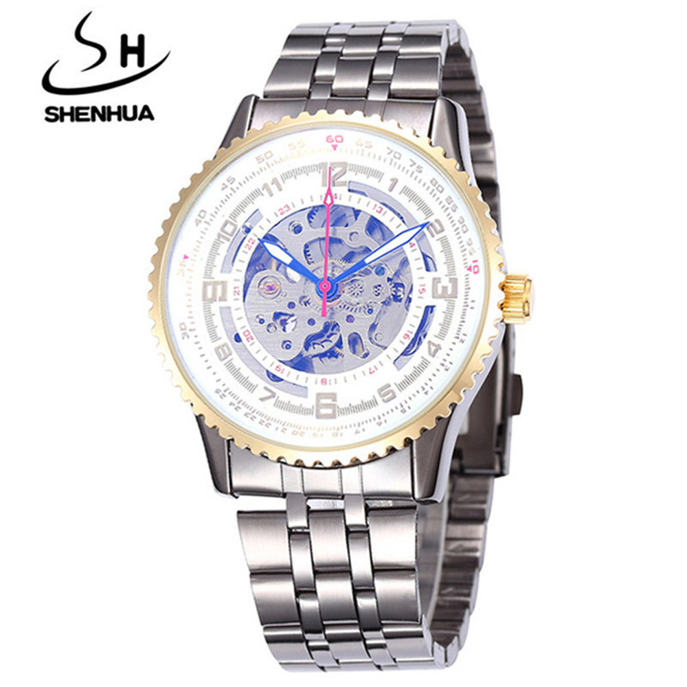 Shenhua 9500 Large Dial Men'S Steel Band Hollow Mechanical Watch - White