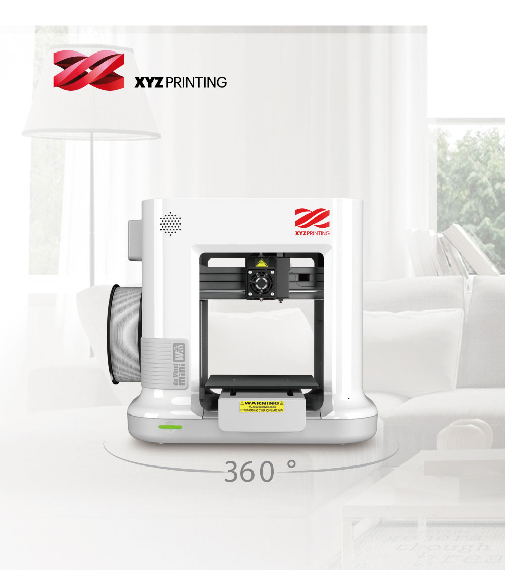 XYZprinting Da Vinci Mini W+ 150 x 150 x 150mm High Quality FDM 3D Printer - White EU Plug
