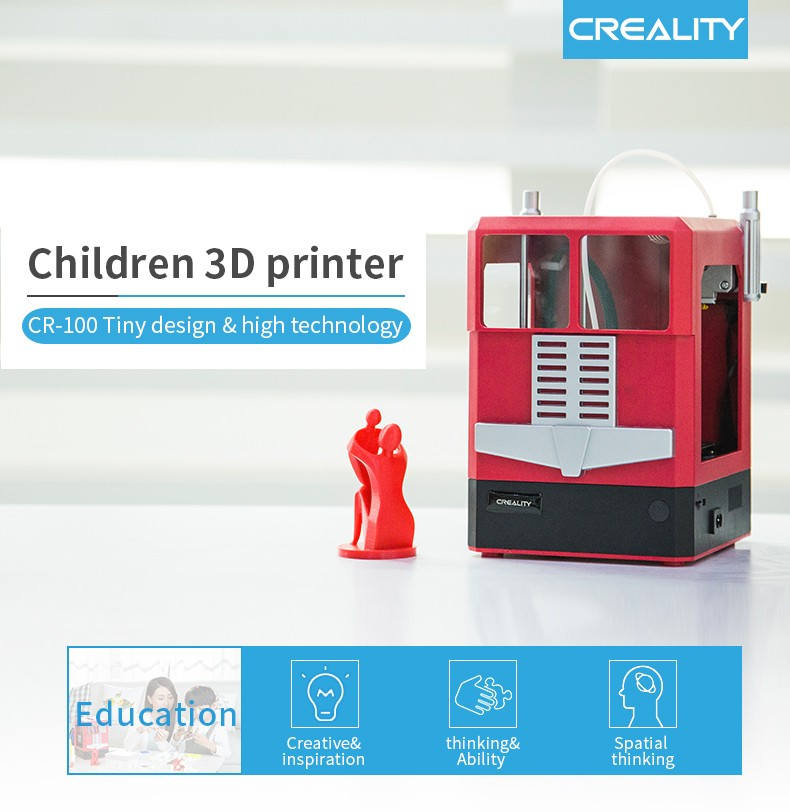 Creality CR-100 Upgraded Version 100 x 100 x 80mm High Quality Printer for Children- Cherry Red EU Plug