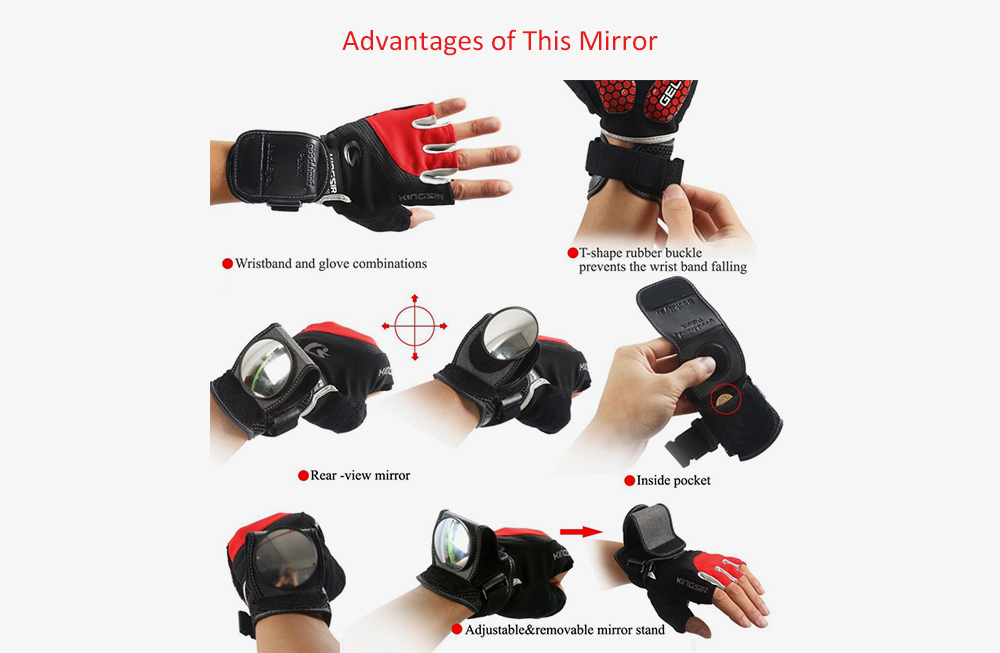Bicycle Rearview Mirror Wristband Arm 360 Degrees Rotation- Black