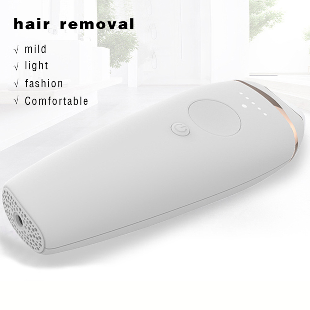 Nice 300000 Flash IPL Electric Laser Hair Removal Instrument Trimmer for Women- Milk White