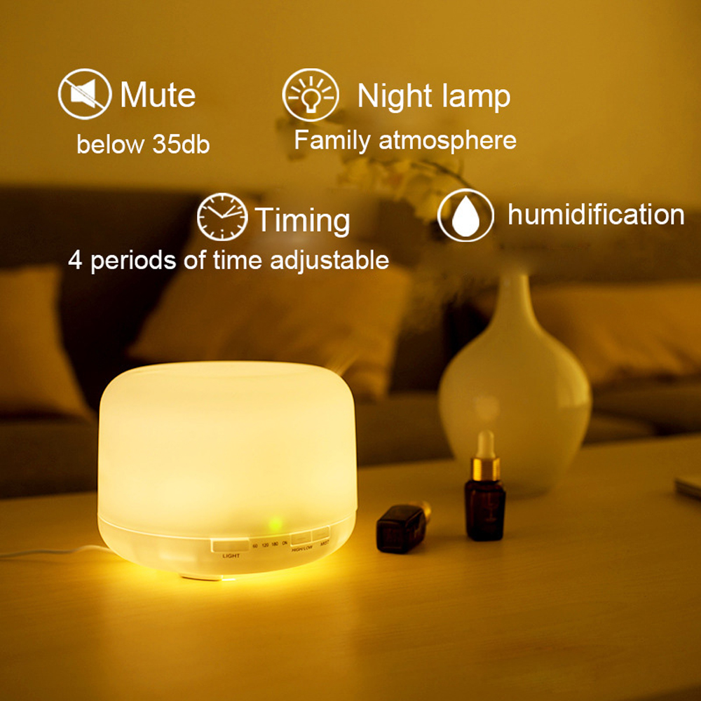 Nice 500ML Ultrasonic Air Aroma Humidifier with 7 Color Light Night Light- Milk White