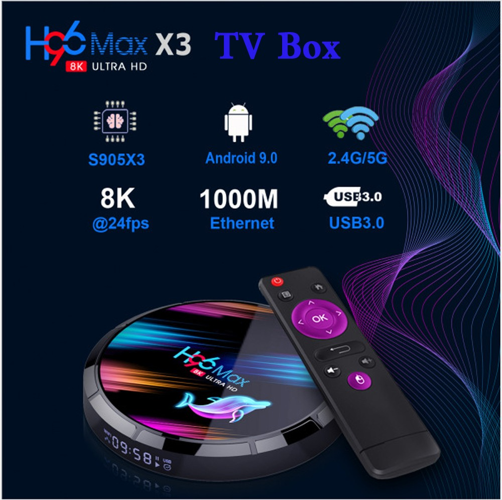 H96 Max X3 Android 9.0 Smart TV Box with Amlogic S905X3 Mail-G31 2.4GHz + 5.0GHz Dual-band WiFi 1000Mbps 2 x USB BT 4.0 H.264, H.265, Google Play Support 8K 24fps- Black 4GB RAM +32GB ROM EU Plug