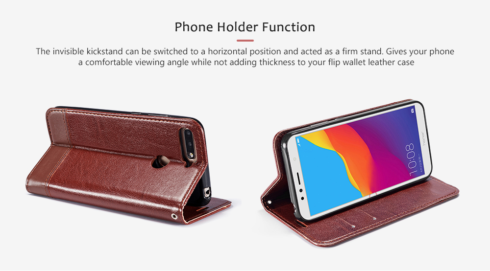 Double-sided Leather Cover Phone Case with Holder Card Slots Lanyard for HUAWEI Y7 Pro 2018- Sepia