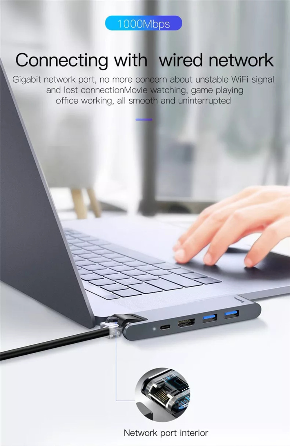 Baseus 7 in 1 Dual Type-C USB C Hub Adapter with 2 USB 3.0 Ports 4K HD Display Interface RJ45 Gigabit Port PD Charging Port Memory Card Readers for Dual Type-C Devices MacBook- Dark Gray
