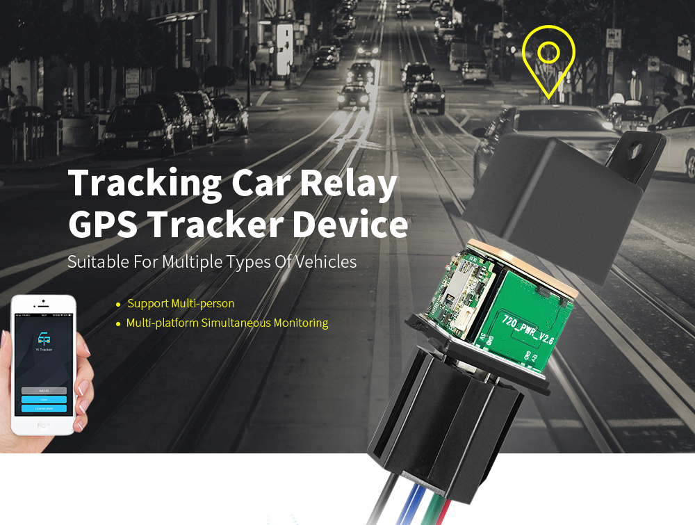 CJ720 Tracking Car Relay GPS Tracker Device- Black