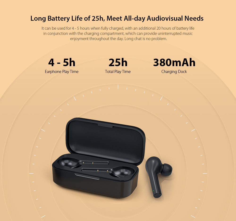 QCY T5 Bluetooth 5.0 Binaural In-ear Earphones Wireless Charging Earbuds with Mic and Charging Dock- Black