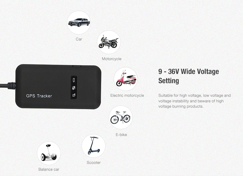 GT02A Mini GPS Tracker SMS GSM GPRS Locator Vehicle Real-time Tracking Device - Black