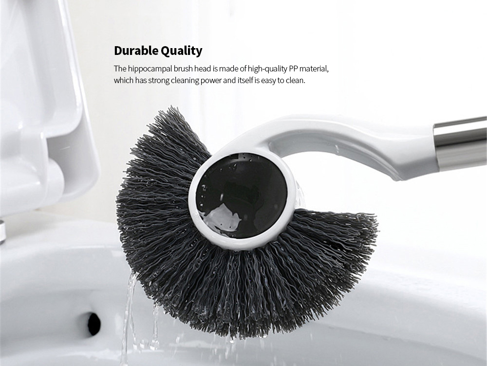Magnetic Bathroom Toilet Long Handle Cleaning Brush- White