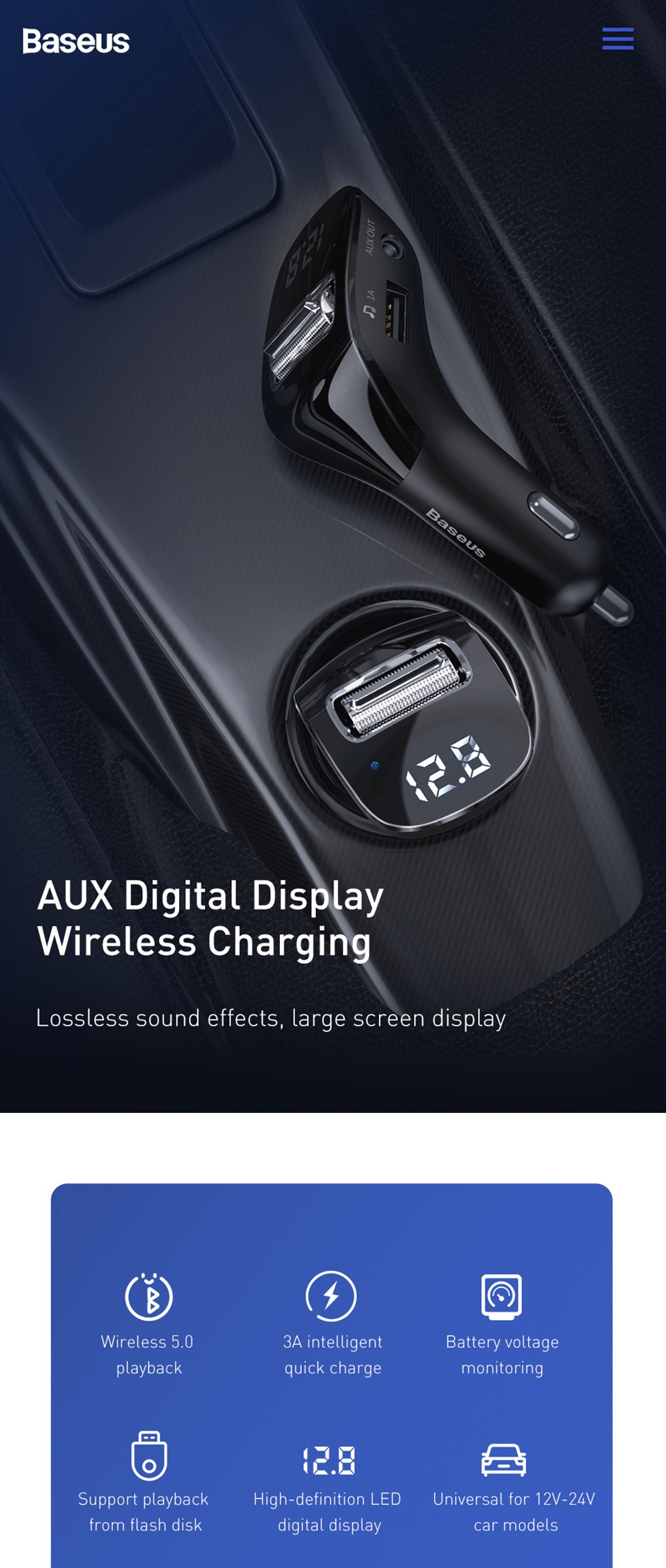 Baseus Streamer F40 AUX Wireless MP3 Car Charger Bluetooth 5.0 FM Transmitter- Black