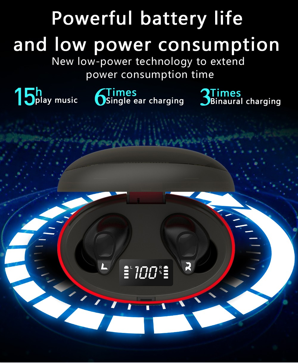 Gocomma A1 TWS Bluetooth Wireless Earbuds HIFI Sound Quality Waterproof Noise-cancelling Headphones With LED Display- Black