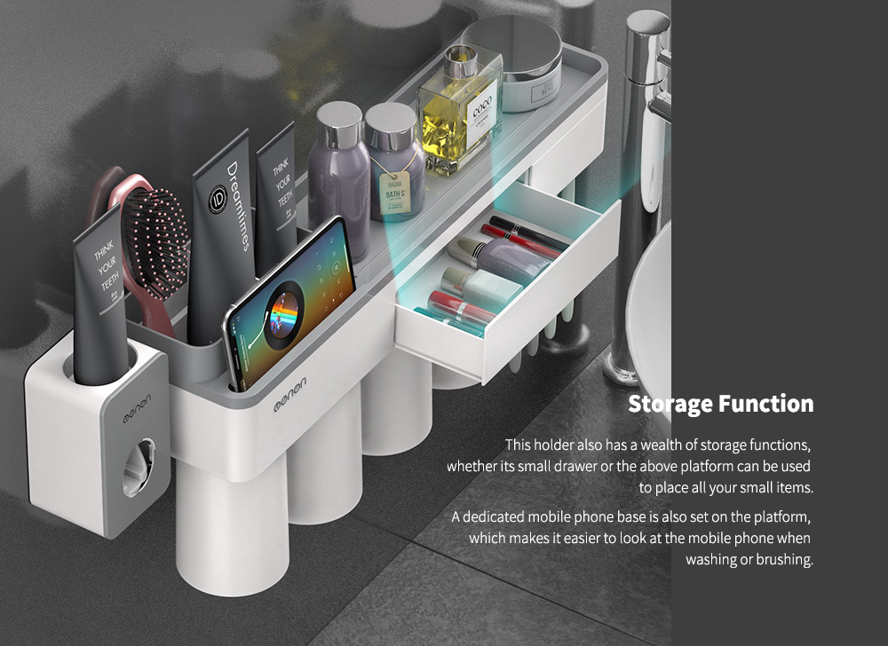 Multifunctional Magnetic Toothbrush Holder with Toothpaste Squeezer + Cups- Platinum Two Cup Ver