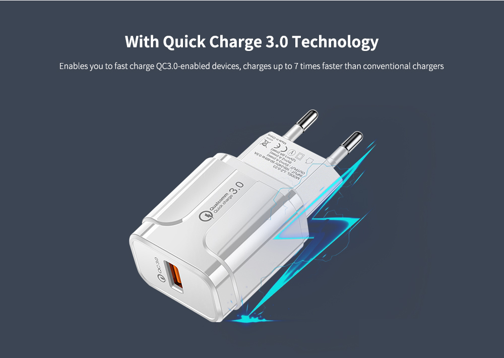 18W Quick Charge 3.0 Mini Smart USB Wall Charger Power Adapter- Black