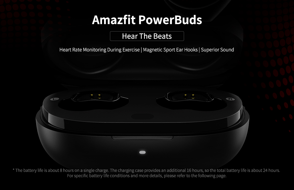 Amazfit PowerBuds Heart Rate Monitor Sports Bluetooth Earphone - Black